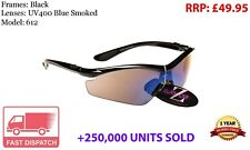 RayZor Black Sports Wrap Sunglasses Uv400 Blue Smoked Lens (612)