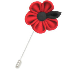 RED POPPY FABRIC LAPEL PIN / Handmade Craft Remembrance Day Ribbon Flower Brooch