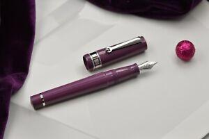 Fountain pen Santini Italia Libra Mora purple ebonite piston nib 18kt F, M, Stub