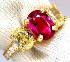 GIA Certified 4.53ct natural No Heat red ruby diamonds ring 18kt fancy yellows+