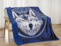 New Indian Chief Wolf Eagle Sherpa Plush Throw Gift Blanket Southwest Wall Decor