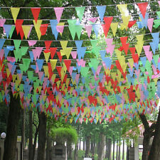 10M Indoor Outdoor Rainbow Colorful Pennant Bunting Flags Party Fete Pub Decor