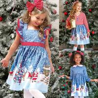 Baby Kids Girls Christmas Santa Print Bow Princess Dresses Clothes X'mas Dress