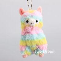 "Kawaii Rainbow Alpaca Alpacasso Plush Toy Stuffed Animal Doll 5"" Key Chain Ring"