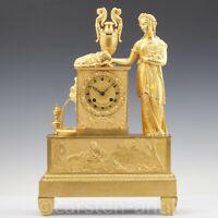 Französische Bronze Pendule Paris, Epochè Charles X Ca. 1830 Feuervergoldet