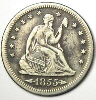 1855-S Arrows Seated Liberty Quarter 25C Coin - XF Details (EF) - Rare Key Date!
