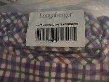 Longaberger Medium Oval Waste Basket Liner Blueberry Plaid Fabric - NEW