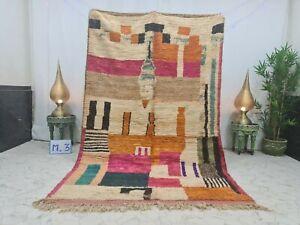 "Boujaad Vintage Handmade Moroccan Rug 5'5""x8'5"" Berber Abstract White Orange Rug"