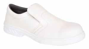 CHEF'S SHOES WHITE SLIP ON MICROFIBRE, KITCHEN, CATERING, FOOD PREP, BAKING