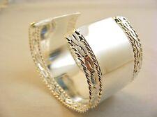 Silver Copper Alloy Cuff Bracelet 1.50 In. W Twisted Rope Shiny Bullock& Dorches