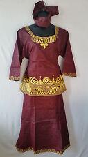 Women Clothing African Dashiki Skirt Suit Attire Maroon Free Size Print #9318