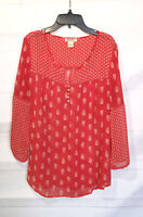 Lucky Brand Top Size Large Womens Blouse Shirt Boho Peasant Semi Sheer Pullover