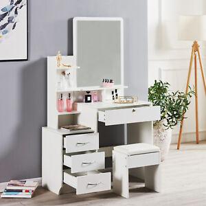 Modern Dressing Table Stool Bedroom Vanity Set Makeup Desk W/ Mirror & 4 Drawers