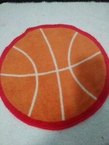 Small Sports Rug basketball kids room decor orange red white basketball shape