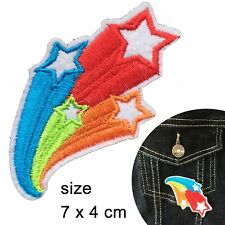 Shooting stars Iron on patch - star rainbow coloured embroidery iron-on patches