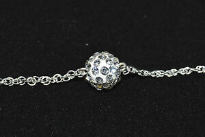 Bracelet Rhodium Silver Chain And Pearl Crystal Shamballa White Jewel