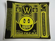 Beer Label STICKER ~ WORMTOWN Brewery Be Hoppy IPA ~ Worcester, MASSACHUSETTS