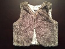Carter's Baby Girl Fur Vest Tan and Gray Size 18 Months