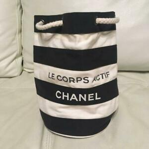 CHANEL novelty drawstring back border shoulder ladies' bag navy white tote HTF