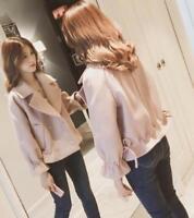 Womens Sweet Wool Blend Lapel Korean Style Loose Short Coat y8  Fashion Jacket