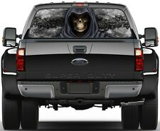 Grim Reaper Skulls Black Fire Flame 3  Rear Window Graphic Decal Sticker  Truck