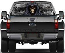 Grim Reaper Skulls Black Fire Flame 3  Rear Window Graphic Decal Sticker  Truck