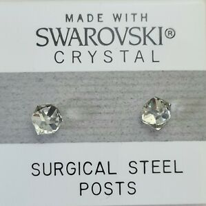 Silver Tilted Cube Square Stud Earrings 4mm Crystal Made with Swarovski Elements