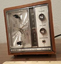 Mid-century Elgin Vintage Clock Radio Alarm, Tested and working!