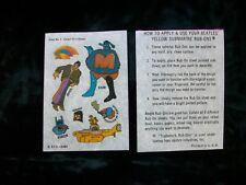 The BEATLES 1968 Yellow Submarine Rub Ons #4 Unused! Rare!