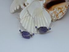 handmade hoop dangle earrings Amethyst and Swarovski crystal bead