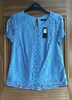 M&Co New Light Pale Blue Embroidered Lace Lined Summer Top Size 10 12 14 16 18