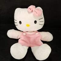 """Sanrio Hello Kitty Hand Puppet Plush 10"""" Pink Striped Outfit Stuffed Animal"""