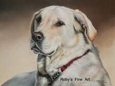 """Labrador Dog 5"""" x 7"""" Print """"Forever Faithful"""" Giclee by Realism Artist Roby Baer"""