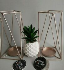 Pillar candle holders set of 2, color rose gold, brand New.
