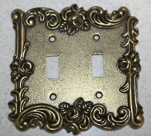 Vintage American Tack Rose Double Light Switch Plate Cover Brass