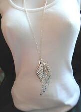 "Large Filigree Guardian Angel Wing Pendant on 30"" Chain"