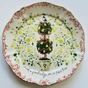 NEW Anthropologie Inslee Fariss 12 Days of Christmas Plate 1 Pear Tree Partridge