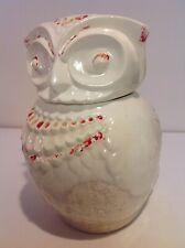 Vintage White Owl A. bisque Cookie Jar, Beautiful Patina, glazed crackle crazing