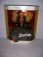 1991 Happy Holidays Barbie Doll NRFB Blonde Hair Green Dress Mattel #1871