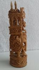 Intricately Carved Ambabori Elephant with Howdah Resin Figurine Statue