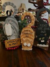 New listing 3 Wood Cat Door Knob Hanger Vintage Cat Gift Funny Cat Lady Signs prim country