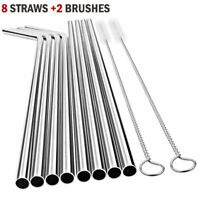 8pcs Reusable Stainless Steel Drinking Straw Washable Straws w/ Cleaning Brushes