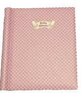 Baby Girl Pink Photo Album Luxury Self Adhesive Large Checked Shabby Chic
