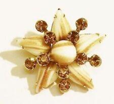 broche bijou vintage étoile cristaux citrine navette porcelaine couleur or *3252