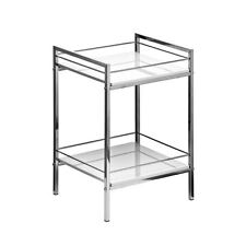 Premier Housewares 34x30x51cm 2 Tier White Hi Gloss Shelf Unit With Chrome Frame