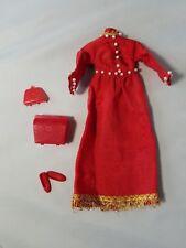 Vintage Barbie Outfit Clothes Retro Red Mod Asian Oriental Dress Purse Shoes