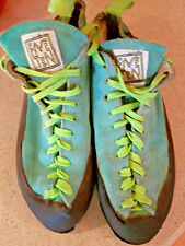 5.10 Five Ten Teal Green Suede Lace Up Stealth Rock Climbing Shoes Sz 12