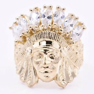 Men's Native American Indian Head All White CZ Solid 10K Yellow Gold ALL SIZES