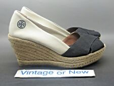 cbbefeb4319 Women s Tory Burch Filipa Espadrille Black Beige Canvas Peep Toe Wedge sz  7.5 B