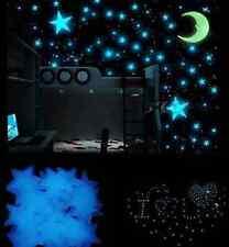 100X Luminous Stars Stickers Glue Glow In The Dark Bedroom KIDS Wall Room Decor